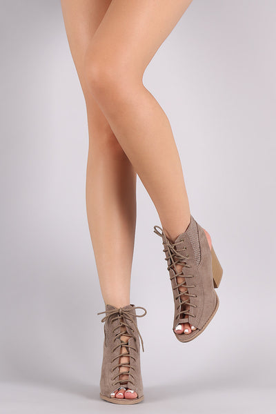 Qupid Perforated Lace Up Cutout Booties - Porcupine Lagoon LLC -Shoes, Booties