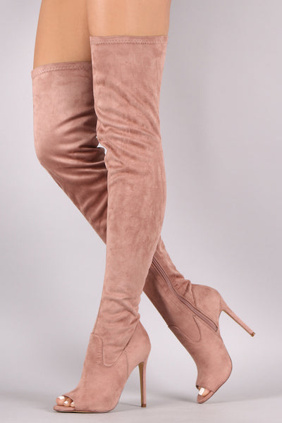 Suede Peep Toe Stiletto Over-The-Knee Boots - Porcupine Lagoon LLC -Shoes, Thigh High Boots