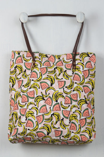 Watermelon And Banana Tote Bag - Porcupine Lagoon LLC -Accessories, Bags