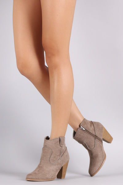 Qupid Suede Stitch Trim Zip-Up Booties - Porcupine Lagoon LLC -Shoes, Booties