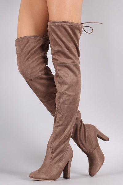 Thigh High Tie Heeled Boot - Porcupine Lagoon LLC -Shoes, Thigh High Boots
