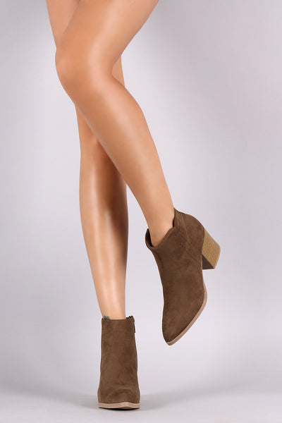 Qupid Suede Side Stitch Zip-Up Booties - Porcupine Lagoon LLC -Shoes, Booties