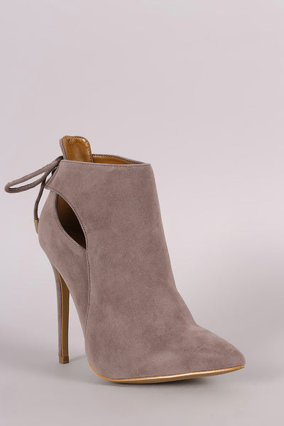 Shoe Republic LA Back Lace-Tie Stiletto Booties - Porcupine Lagoon LLC -Shoes, Booties