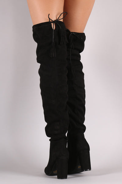 Suede Tassel Drawstring Chunky Heeled Over-The-Knee Boots - Porcupine Lagoon LLC -Shoes, Thigh High Boots