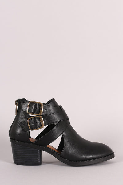 Bamboo Side Cut Out Strappy Block Heel Booties - Porcupine Lagoon LLC -Shoes, Booties
