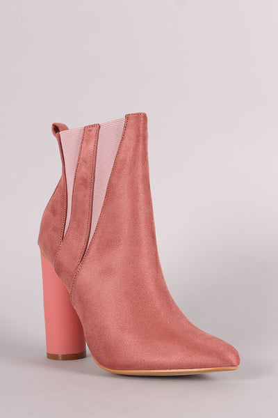 Suede Pointy Toe Round Heeled Ankle Boots - Porcupine Lagoon LLC -Shoes, Booties