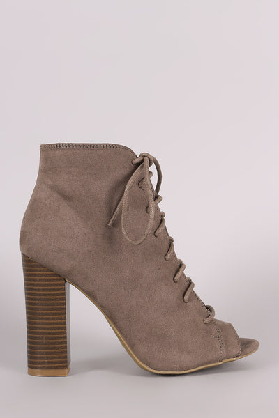 Bamboo Suede Peep Toe Lace-Up Chunky Heeled Booties - Porcupine Lagoon LLC -Shoes, Booties