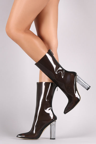 Lucite Pointy Toe Round Heeled Mid Calf Boots - Porcupine Lagoon LLC -Shoes, Mid Calf Boots