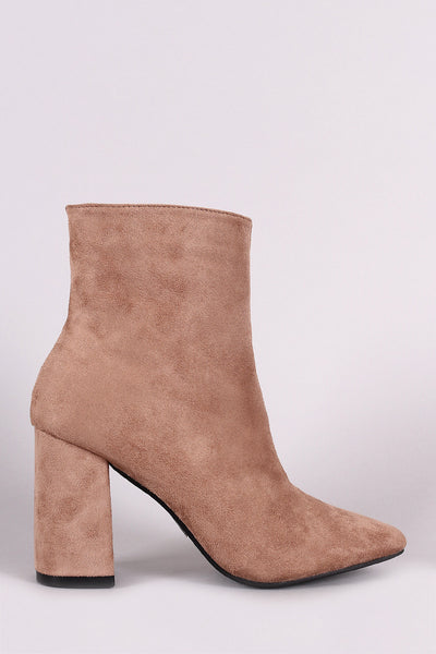 Suede Square Toe Zip-Up Chunky Heel Booties - Porcupine Lagoon LLC -Shoes, Booties