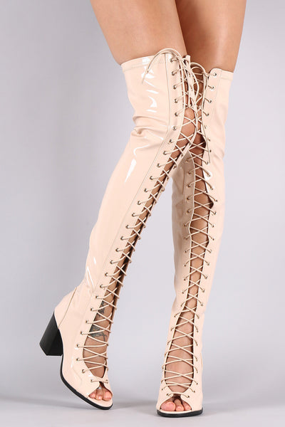 Patent Lace Up Chunky Heeled Over-The-Knee Boots - Porcupine Lagoon LLC -Shoes, Knee High Boots, Thigh High Boots