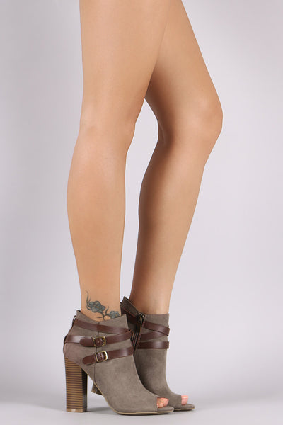 Bamboo Suede Buckled Strap Chunky Heeled Booties - Porcupine Lagoon LLC -Shoes, Booties