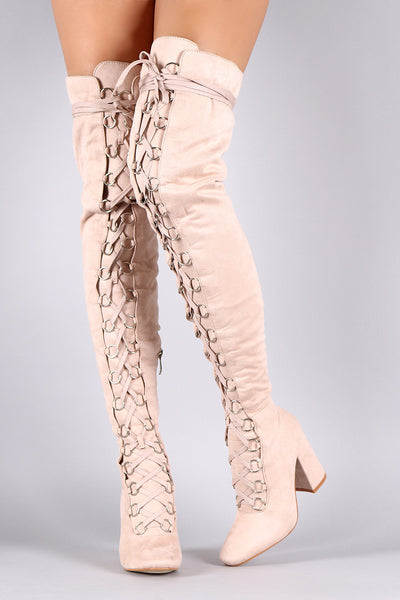 Suede Over The Knee Corset Lace Up Chunky Heel Boots - Porcupine Lagoon LLC -Shoes, Knee High Boots, Thigh High Boots