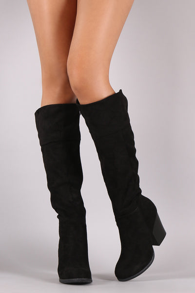 Bamboo Suede Chunky Heel Knee High Boots - Porcupine Lagoon LLC -Shoes, Mid Calf Boots