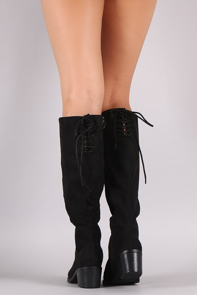 Bamboo Suede Back Lace Up Block Heeled Knee High Boots - Porcupine Lagoon LLC -Shoes, Knee High Boots