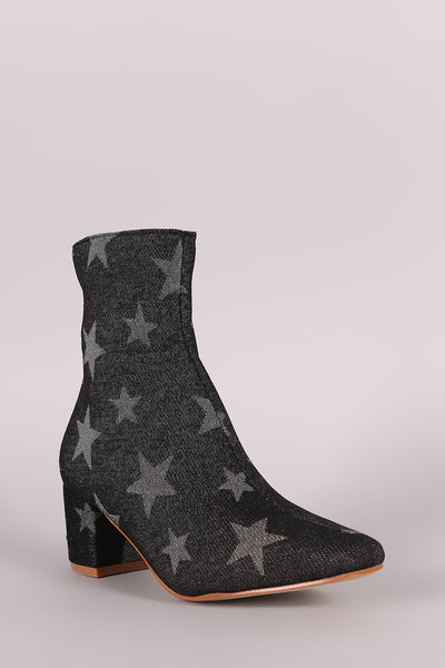 Star Print Denim Blocked Heeled Ankle Boots - Porcupine Lagoon LLC -Shoes, Booties