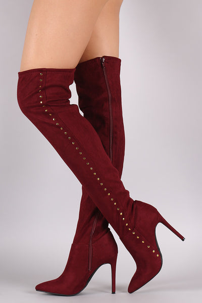 Anne Michelle Stretchy Suede Side Studded Over-The-Knee Boots - Porcupine Lagoon LLC -Shoes, Knee High Boots, Thigh High Boots