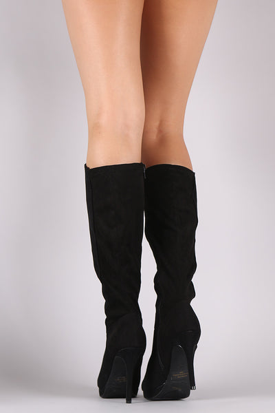 Anne Michelle Suede Almond Toe Knee High Boots - Porcupine Lagoon LLC -Shoes, Mid Calf Boots