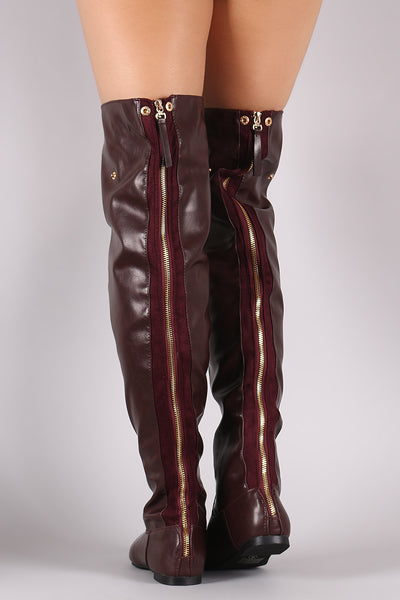 Statement Back Zipper Leather Slouchy OTK Boots - Porcupine Lagoon LLC -Shoes, Knee High Boots, Thigh High Boots