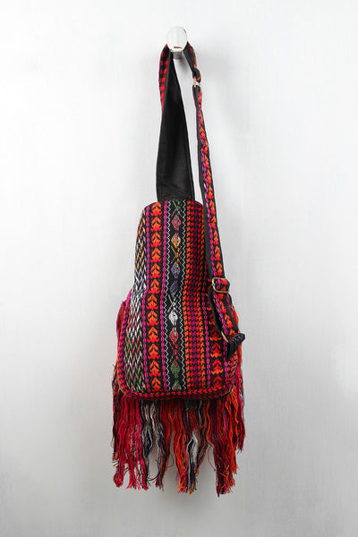 Single Shoulder Navajo Print Fringe Backpack - Porcupine Lagoon LLC -Accessories, Bags