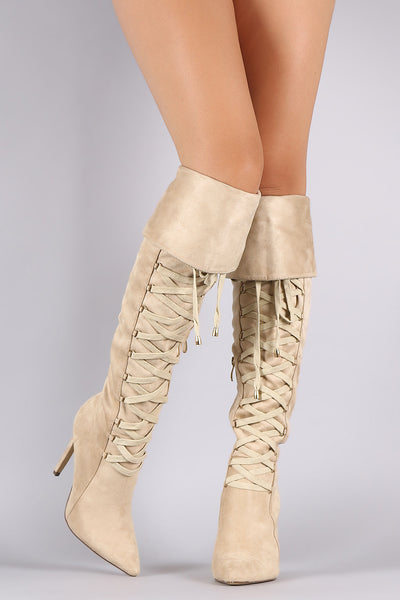 Suede Pointy Toe Lace Up Stiletto Over-The-Knee Boots - Porcupine Lagoon LLC -Shoes, Knee High Boots