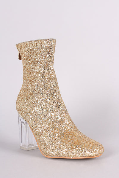 Glitter Chunky Lucite Heeled Ankle Boots - Porcupine Lagoon LLC -Shoes, Booties