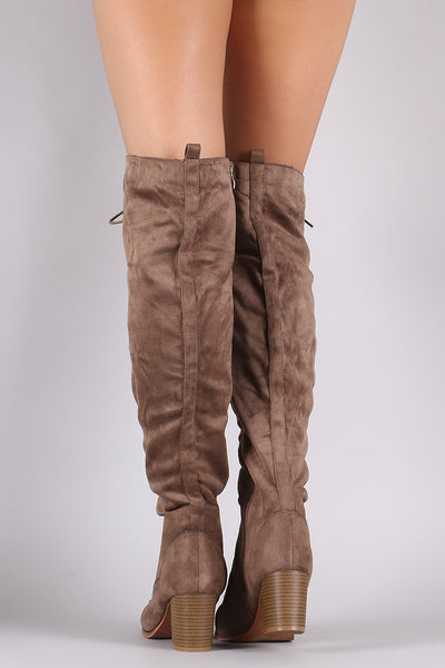 Over The Knee Lace Up Almond Toe Chunky Boots - Porcupine Lagoon LLC -Shoes, Knee High Boots