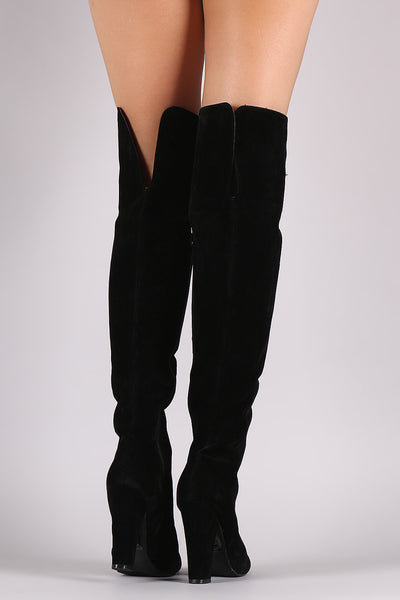 Shoe Republic LA Suede Chunky Heel OTK Boots - Porcupine Lagoon LLC -Shoes, Knee High Boots