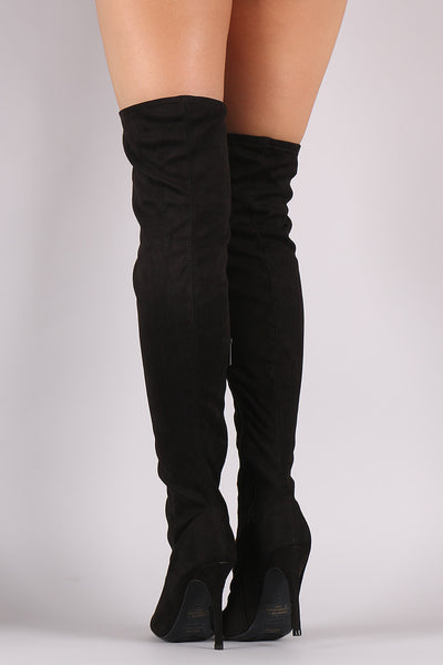 Anne Michelle Corset Embellished Fitted OTK Boots - Porcupine Lagoon LLC -Shoes, Knee High Boots