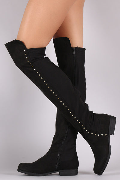 Bamboo Studded Elastane Fitted OTK Boots - Porcupine Lagoon LLC -Shoes, Knee High Boots
