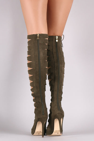Liliana Lace Up OTK Pointy Toe Stiletto Boots - Porcupine Lagoon LLC -Shoes, Knee High Boots