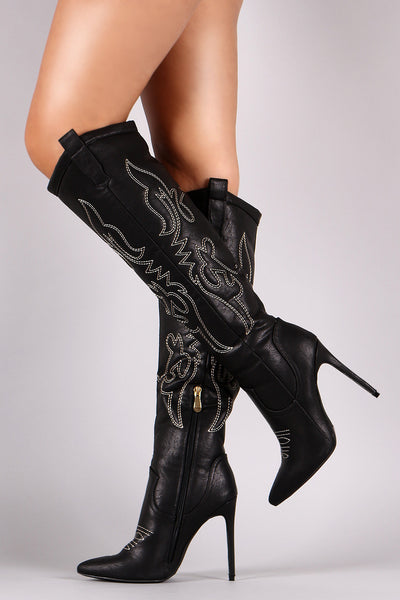Liliana Western Embroidered Pointy Toe Stiletto Heels - Porcupine Lagoon LLC -Shoes, Knee High Boots