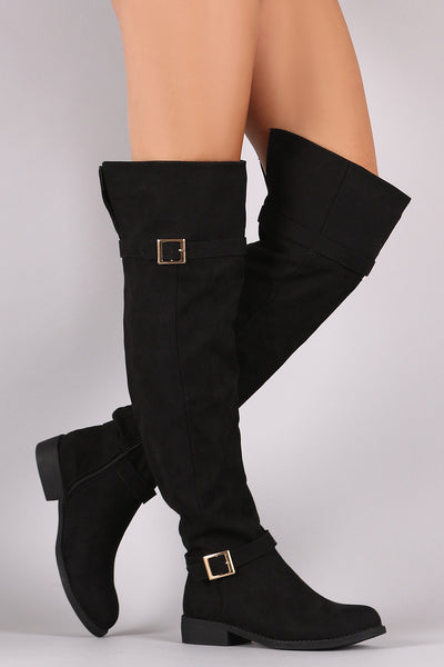 Bamboo Suede Buckled OTK Riding Boots - Porcupine Lagoon LLC -Shoes, Knee High Boots, Thigh High Boots