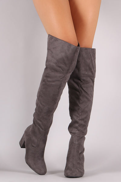 Wild Diva Lounge Suede OTK Block Heel Boots - Porcupine Lagoon LLC -Shoes, Knee High Boots