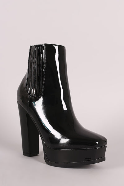 Patent Square Toe Chunky Platform Heeled Ankle Boots - Porcupine Lagoon LLC -Shoes, Booties