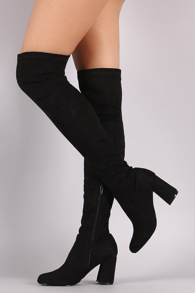 Shoe Republic LA Fitted Suede Block Heeled Over-The-Knee Boots - Porcupine Lagoon LLC -Shoes, Knee High Boots