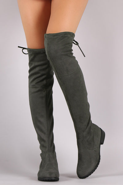 Suede Drawstring-Tie Riding Over-The-Knee Boots - Porcupine Lagoon LLC -Shoes, Knee High Boots