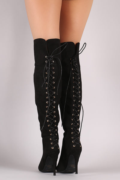 Anne Michelle Suede Back Corset Lace-Up Stiletto Boots - Porcupine Lagoon LLC -Shoes, Knee High Boots