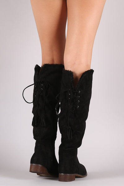 Suede Tassel Lace-Up Fur Cuff Riding Knee High Boots - Porcupine Lagoon LLC -Shoes, Mid Calf Boots