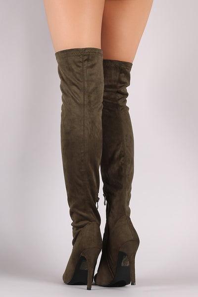 Suede Fitted OTK Pointy Toe Stiletto Boots - Porcupine Lagoon LLC -Shoes, Knee High Boots