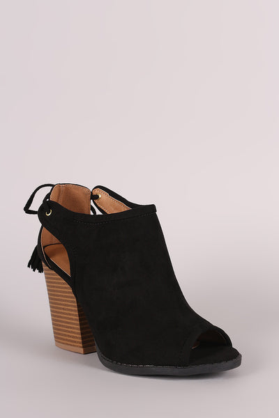 Qupid Suede Cutout Tassel Lace Tie Block Heeled Booties - Porcupine Lagoon LLC -Shoes, Booties
