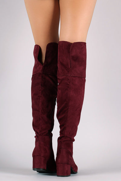 Suede Over-The-Knee Back Slit Block Heel Boots - Porcupine Lagoon LLC -Shoes, Knee High Boots