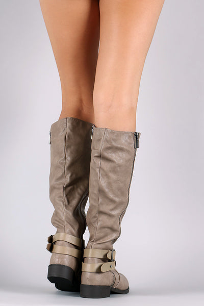 Double Strap Zipper Accent Riding Boots - Porcupine Lagoon LLC -Shoes, Mid Calf Boots