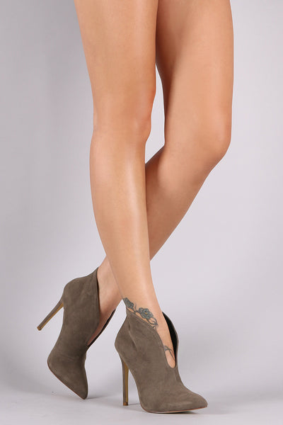 Pointy Toe Cleavage Stiletto Ankle Boots - Porcupine Lagoon LLC -Shoes, Booties