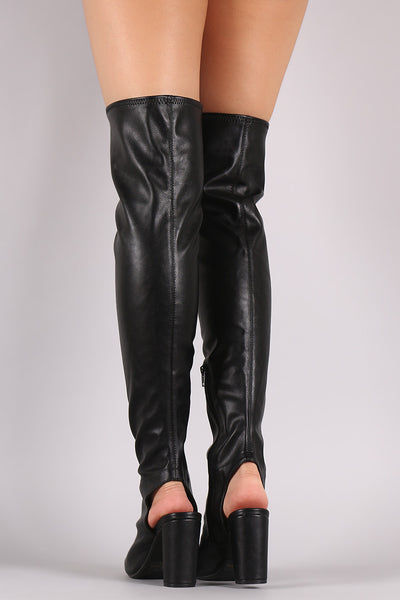 Qupid Cutout Chunky Heeled Over-The-Knee Boots - Porcupine Lagoon LLC -Shoes, Knee High Boots