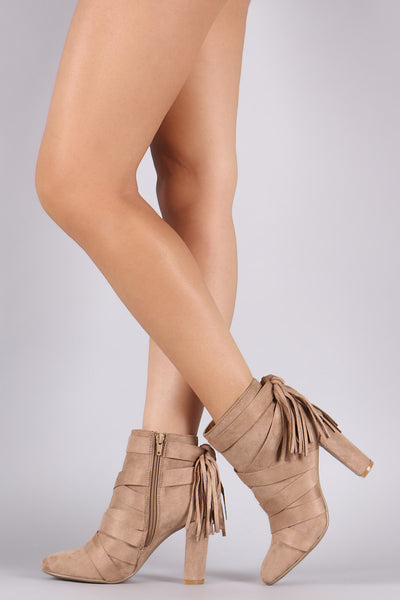 Qupid Strappy Tassel Suede Chunky Heeled Booties - Porcupine Lagoon LLC -Shoes, Booties