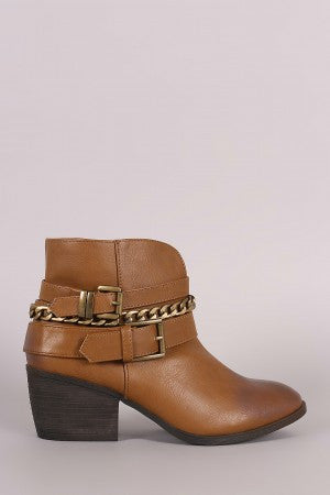 Liliana Buckled Strappy Chain Cowgirl Block Heeled Booties - Porcupine Lagoon LLC -Shoes, Booties