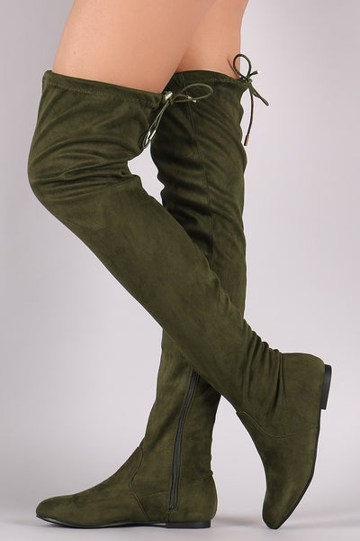 Suede Drawstring Tie Over-The-Knee Flat Boots - Porcupine Lagoon LLC -Shoes, Knee High Boots