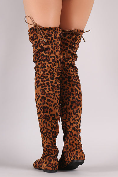 Leopard Drawstring Tie Over-The-Knee Flat Boots - Porcupine Lagoon LLC -Shoes, Knee High Boots