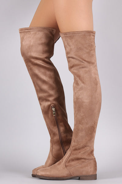 Suede Slit Riding Over-The-Knee Boots - Porcupine Lagoon LLC -Shoes, Knee High Boots