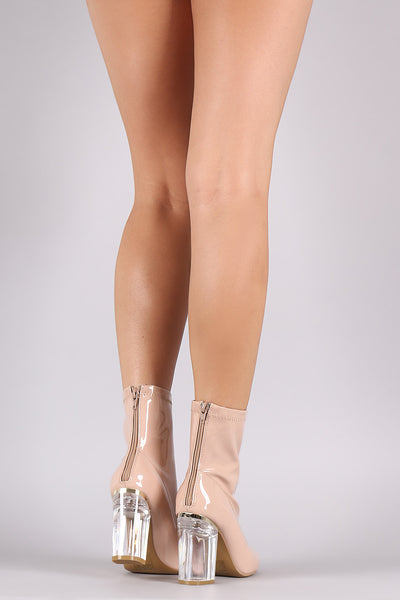 Patent Chunky Lucite Heeled Ankle Boots - Porcupine Lagoon LLC -Shoes, Booties